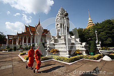 Monks and Stupas in the Royal Palace of Cambodia Editorial Stock Image