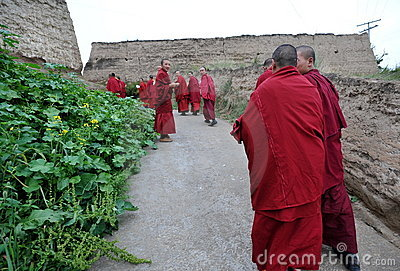 Monks in the village Editorial Photography