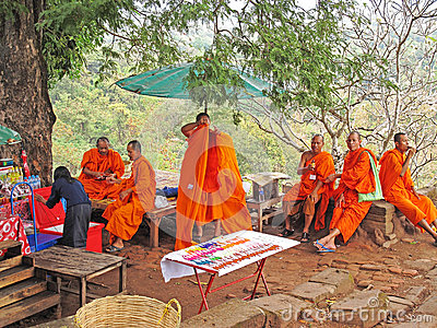 Monks at Wat Phu, Laos Editorial Photography