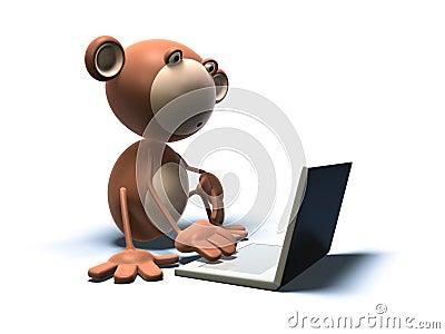 Mono con una computadora portátil
