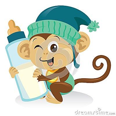Mono del bebé con la botella de leche