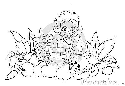 Mono y fruta