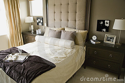 monochromatic bedroom stock image image 12564861