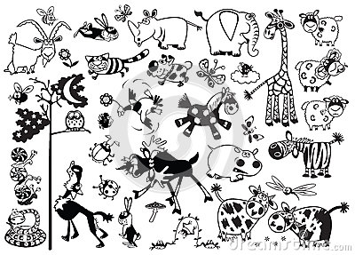 Monochrome childish animals