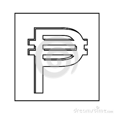 Monochrome Contour With Currency Symbol Of Philippine In Square