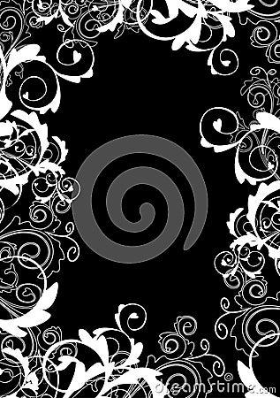 Monochrome floral frame