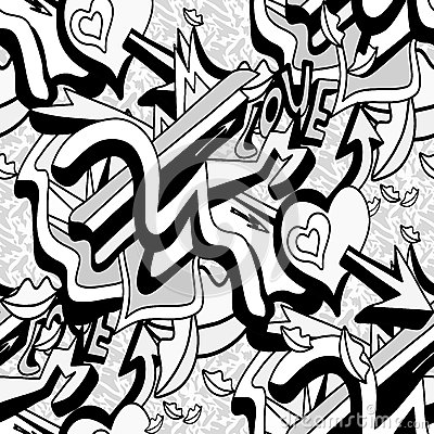 Monochrome graffiti lines and heart on a white background seamless pattern vector illustration Vector Illustration