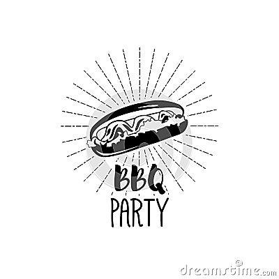 Monochrome Hotdog logo templates and badges for your design. Vector illustration Vector Illustration