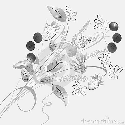 Monochrome illustration with forest flowers