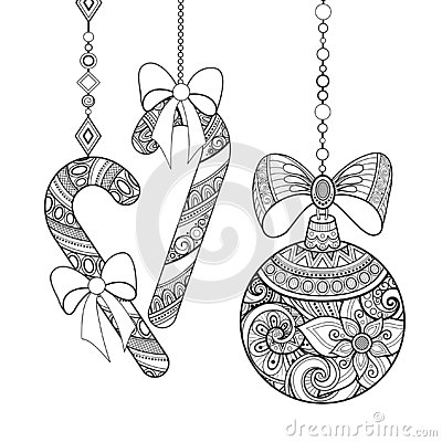 Monochrome Ornate Christmas Decorations, Happy New Year Vector Illustration