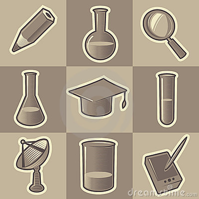 Monochrome science icons