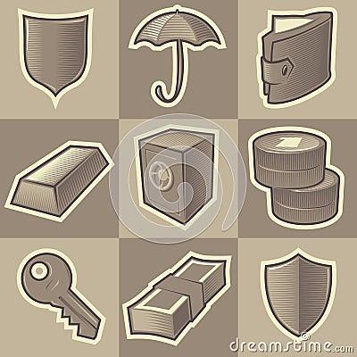 Monochrome security icons