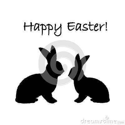 Monochrome silhouette of two Easter bunny rabbits.