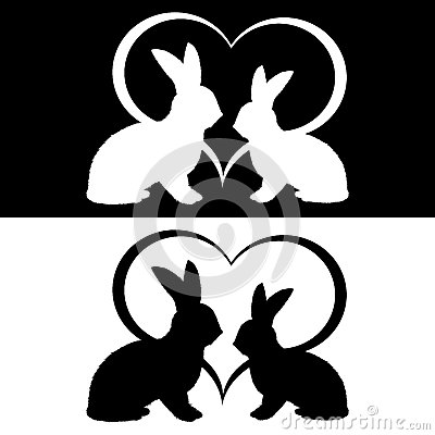 Monochrome silhouette of two rabbits and a heart
