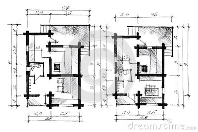 Monochrome Freehand Of A House Layout Stock Illustration Image 57722105