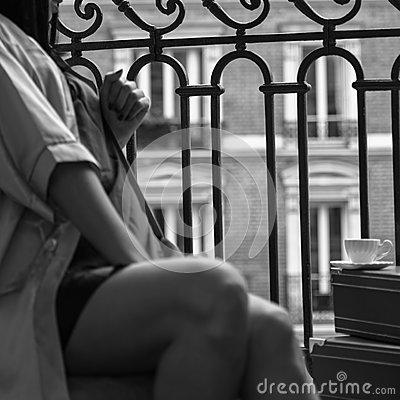 Free Monochrome Square Photo Of Abstract Morning In Paris With Female Royalty Free Stock Image - 59109696