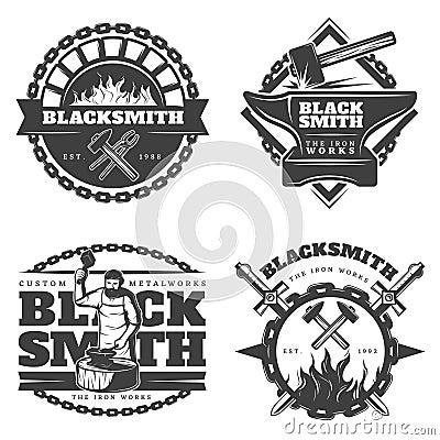 Free Monochrome Vintage Blacksmith Emblems Set Royalty Free Stock Photography - 90901947