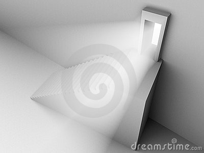 Monochromic 3d rendered image of stair to door