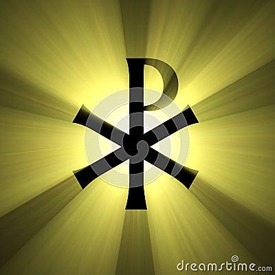 Monogram of Christ symbol light flare