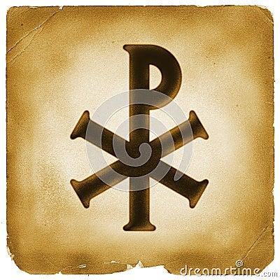 Monogram of Christ symbol old paper