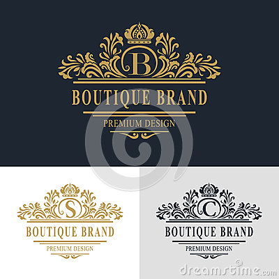 Free Monogram Design Elements, Graceful Template. Calligraphic Elegant Line Art Logo Design. Letter Emblem Sign B, S, C For Royalty Royalty Free Stock Image - 62860266
