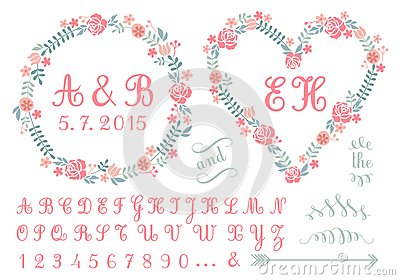 Monogram in floral frames, vector set