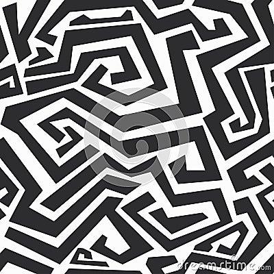 Monokromma krökta linjer sömlös textur