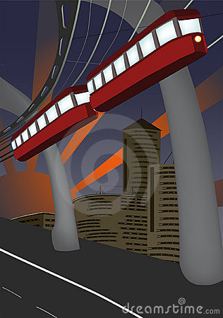 Monorail and modern city