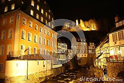Monschau (Germany) at night