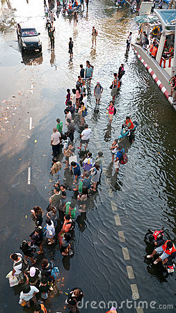 Monsoon flooding in Bangkok, November 2011 Editorial Photography