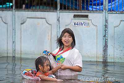 Monsoon flooding in Bangkok, October 2011 Editorial Photography