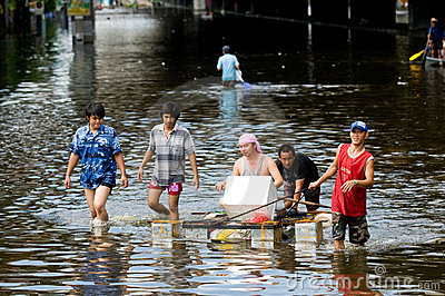 Monsoon flooding in Bangkok, October 2011 Editorial Image