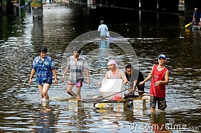 Monsoon flooding in Bangkok, October 2011 Editorial Image