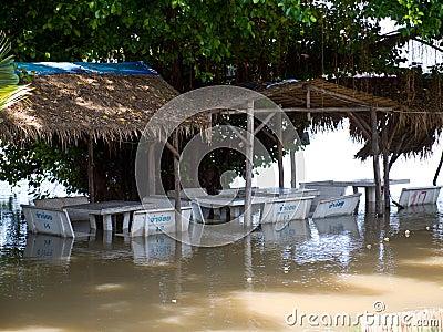 Monsoon season in Ayuttaya, Thailand 2011 Editorial Photography