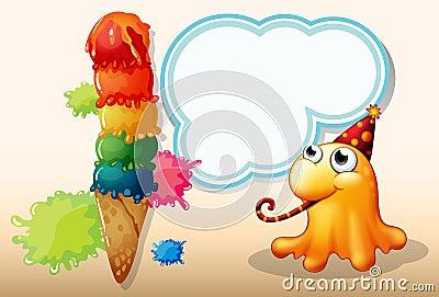 A monster celebrating beside the giant icecream