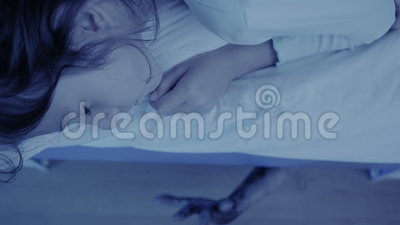 Monster coming out from under little girls bed. nightmare child. halloween. Monster coming out from under teenage girls bed. nightmare child stock video