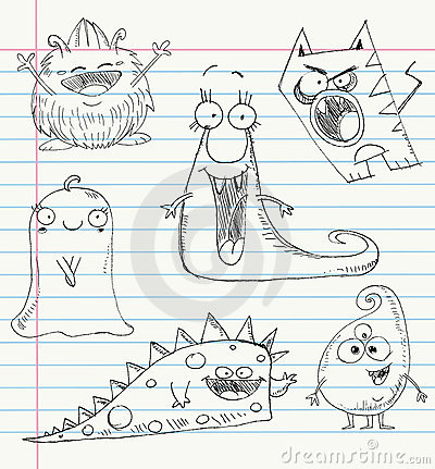 Monster doodles set 1