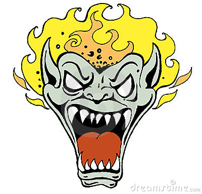 Monster Face with Flame