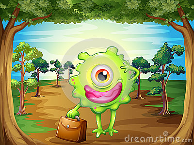 A monster at the forest holding a bag
