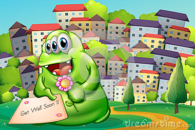 A monster holding a flower and a card
