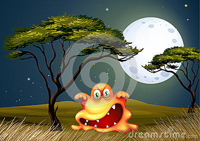 A monster near the tree scaring in the middle of the night