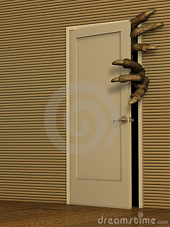 Monster opening a door