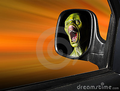 Monster in rear view mirror