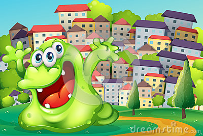 A monster shouting for joy at the hilltop across the tall buildi