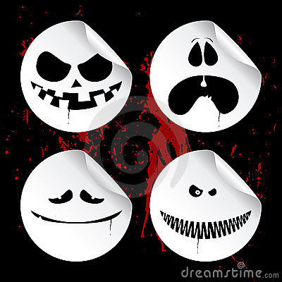 Monster smileys, halloween stickers.