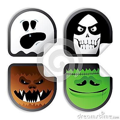 Monster smileys, halloween stickers.