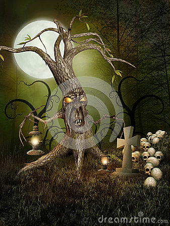 Free Monster Tree And Skulls Royalty Free Stock Photos - 26396068