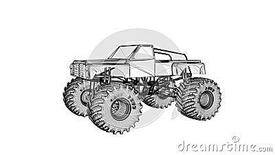 Monster truck 3D rinden de wireframe, aislado en blanco Canal alfa incluido libre illustration