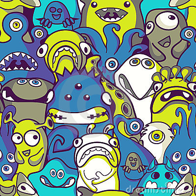 Free Monsters And Aliens- Seamless Background Royalty Free Stock Photos - 20510658