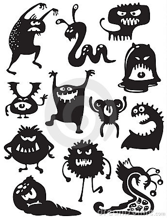 Free Monsters Silhouettes Stock Image - 16220891